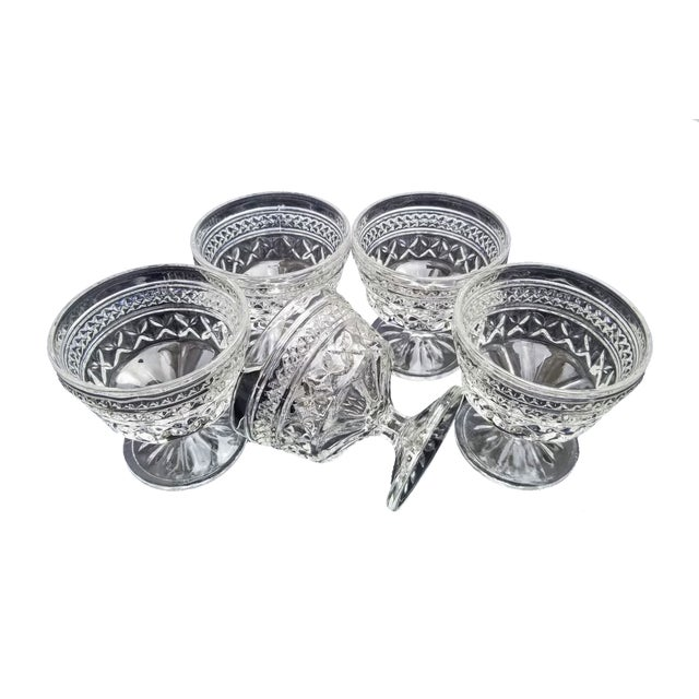"Anchor Hocking Vintage Anchor Hocking Pressed Glass ""Wexford"" Champagne Sherbert Goblet Glasses - Set of 5 For Sale - Image 4 of 4"