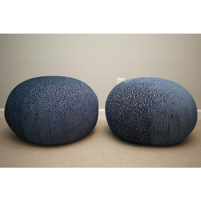 Mid-Century Modern Vintage Mid Century Vladimir Kagan for Directional Pouf Soufflé Ottomans - a Pair For Sale - Image 3 of 6