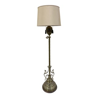 Early 20th Century Antique French Bronze Torchiere Floor Lamp For Sale