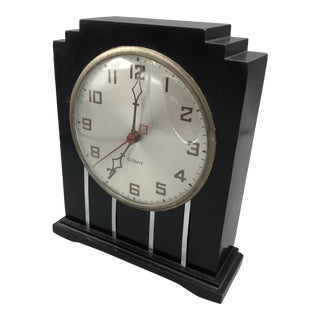 1930s Gilbert Co Art Deco Electric Clock in a Wood Frame For Sale