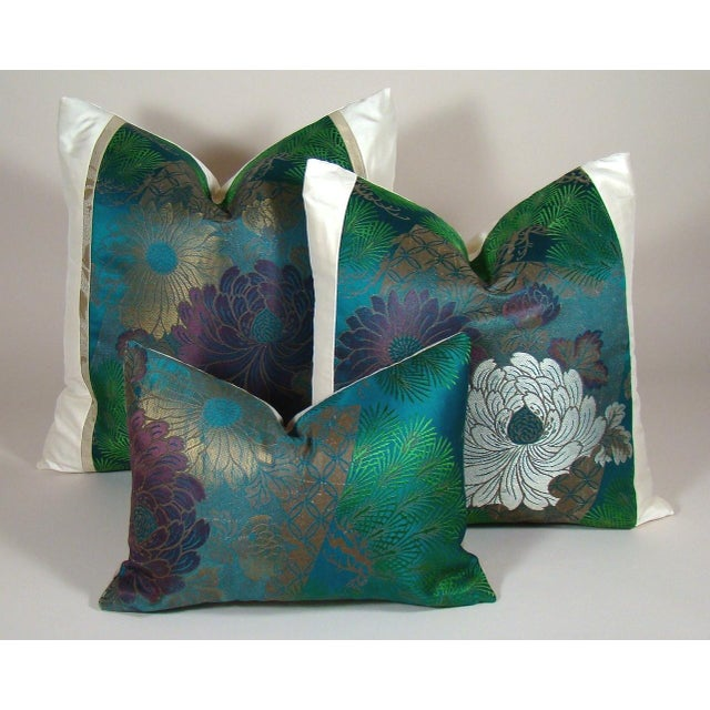 Antique Japanese Silk Obi Lotus Flower Pillow Cover For Sale - Image 9 of 10