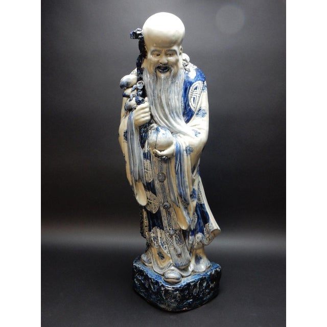 Antique Chinese Blue and White Porcelain Statue of Shoulao 32 Inches For Sale - Image 13 of 13