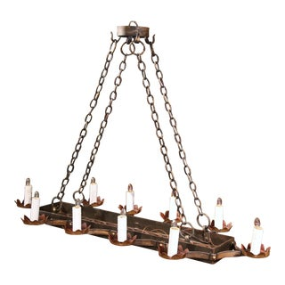 19th Century French Ten-Light Flat Bottom Iron Chandelier with Gilt Accents For Sale