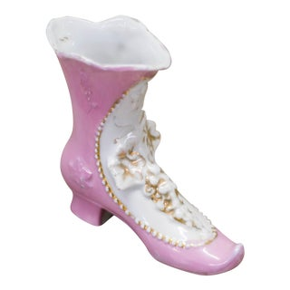Vintage Porcelain Pink Floral Heel Boot, German Made, 1940s