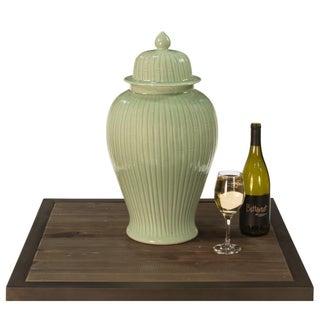Traditional Sarreid Ltd. Celadon Bamboo Temple Jar Preview