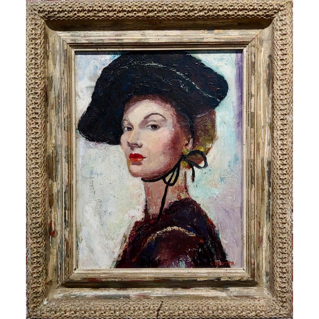 C. Dexter - Portrait of a Stylish Woman w/a Black Hat - Oil painting Expressionist oil painting on canvas - Signed circa...