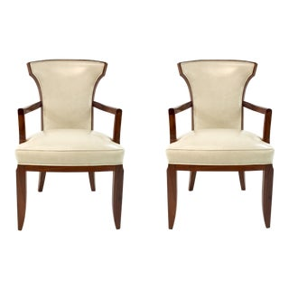 Barbara Barry for Henredon Elegance Leather Arm Chairs Pair For Sale