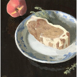 Original Still Life Oil Painting: Pork Chop and Peach For Sale
