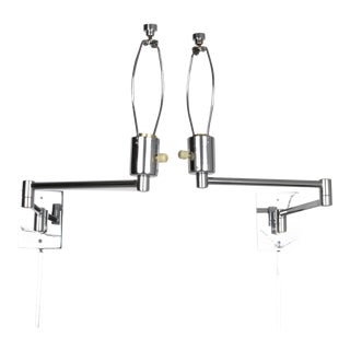 Hansen Chrome Swing Arm Sconces, 1970s For Sale