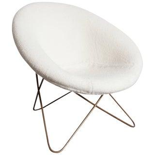Jean Royère style white bouclé Pierre Frey easy chair