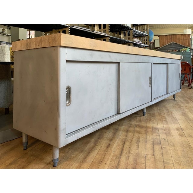 Vintage Industrial Steel Cabinet With Butcher Block Top For Sale - Image 4 of 10