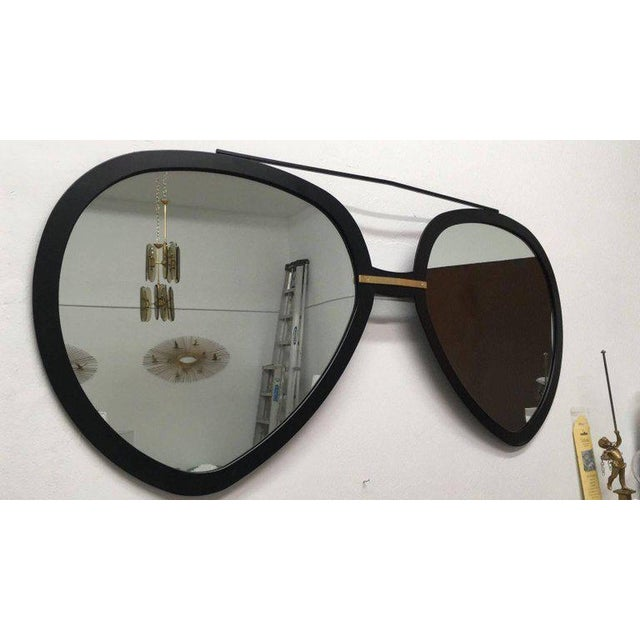 Modern Huge Pair of Aviator Sunglasses Mirror in Matte Black For Sale -  Image 3 of 49f622a63