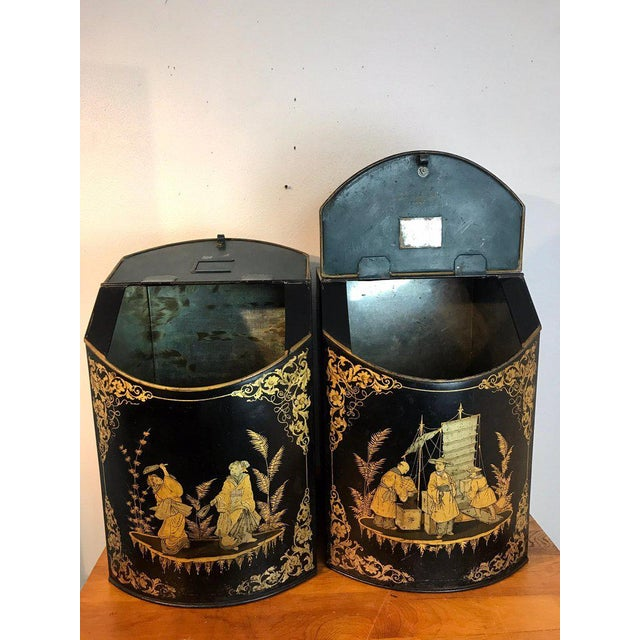 Gold Pair of Antique Chinoiserie Tole Floor Model Tea Canisters by Henry Thoemner For Sale - Image 8 of 13