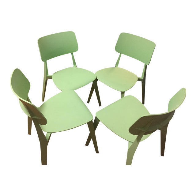 Set of Four Nuans Stellar Dining Chairs in Mint For Sale