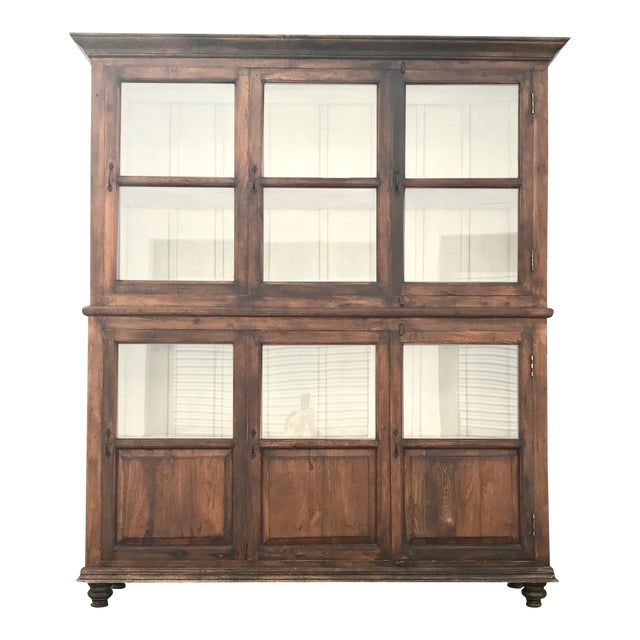 Antiqued Reclaimed Library Wood Vitrine For Sale