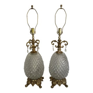 Pair of Vintage 1972 E F and E F Brass and Glass Duel Light Pineapple Table Lamps For Sale