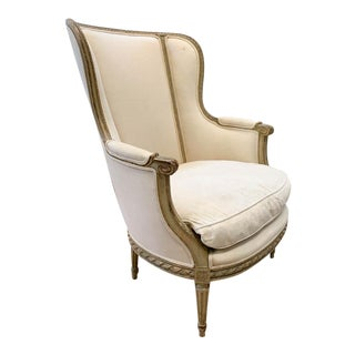 Antique French Wing Back Chair For Sale