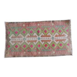 Oushak Rug, Vintage Small Turkish Rug, Oriental Small Anatolia Rugs, Rustic Yastik Door Mat, Bathroom Bath Mat 21'' X 33'' / 52 X 83 CM For Sale