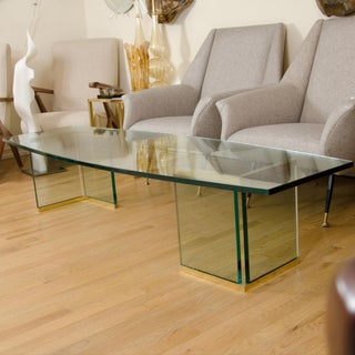1960s Mid-Century Modern Brass and Glass Elliptical Coffee Table Preview