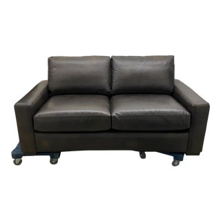 Restoration Hardware Dark Brown Leather Sofa For Sale