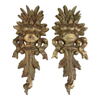 Italian Sculptural Neoclassical Gilded Wall Plaques- a Pair For Sale
