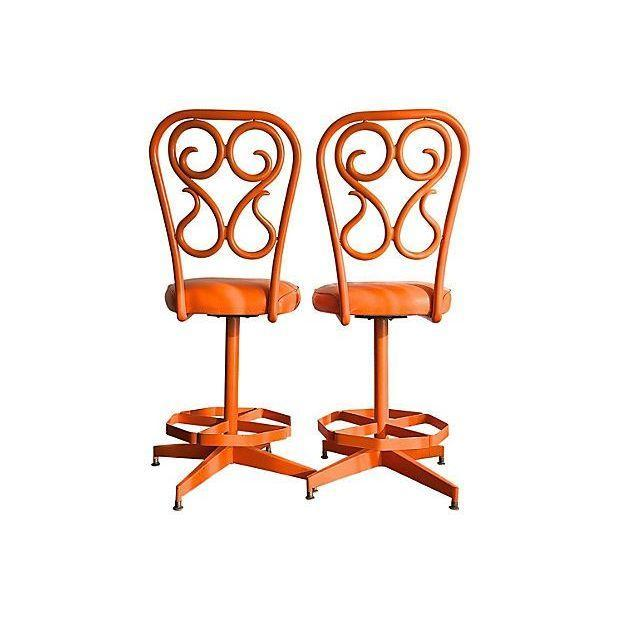 Retro 1970's Orange Swivel Stools - A Pair - Image 2 of 3