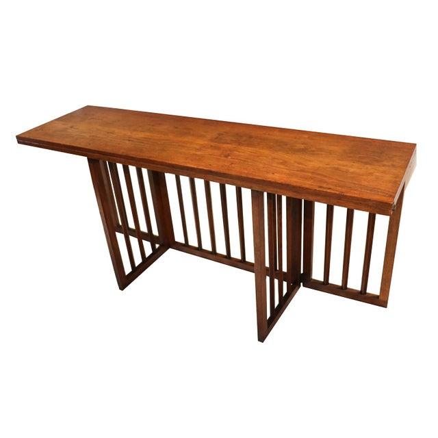 mid century modern folding console dining table chairish. Black Bedroom Furniture Sets. Home Design Ideas