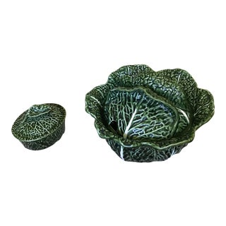 Green Majolica Olfaire Cabbage Tureen and Covered Dish - Set of 2 For Sale
