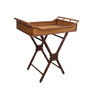 Campaign Style Rattan Butlers Tray Table For Sale