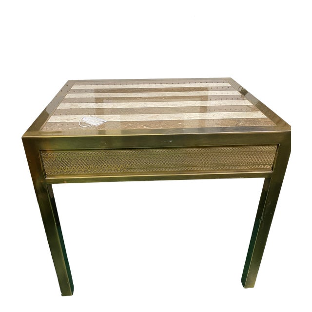 Mid-Century Modern Mastercraft Marble & Brass Side Table For Sale