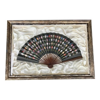 Framed Japanese Kabuki Mask Fan For Sale
