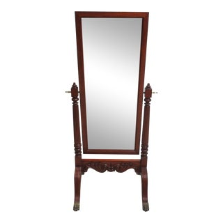 Ethan Allen 18th Century Mahogany Claw Foot Cheval Dresser Fitting Mirror