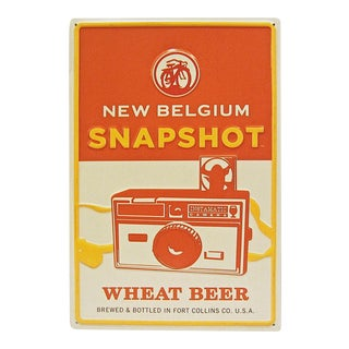 Embossed New Belgium Snapshot Wheat Beer Advertising Sign