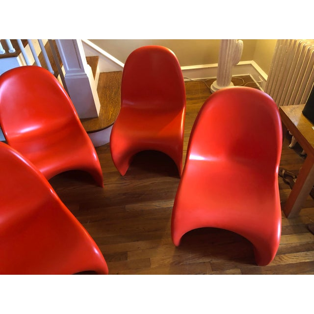 Red Verner Panton for Vitra Chairs- Set of 4 For Sale - Image 8 of 11