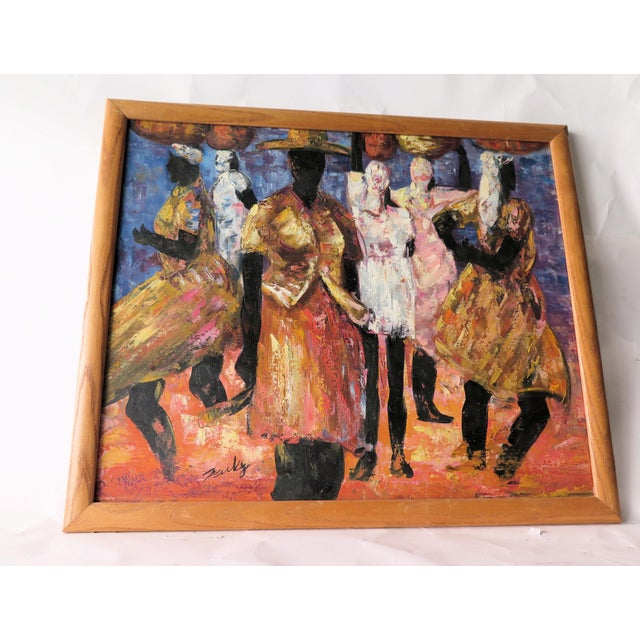 """1960s Abstract Oil Painting on Canvas, """"Jamaican Ladies"""" For Sale In Los Angeles - Image 6 of 6"""