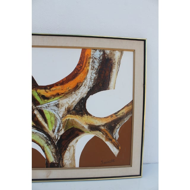 A- Large Vintage Expressionist Abstract Painting - Image 4 of 11