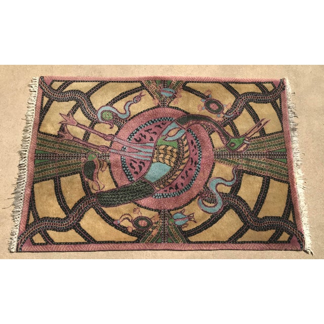 Vintage Hand Knotted Persian Animal Rug- 3′ × 4′6″ For Sale In Dallas - Image 6 of 10