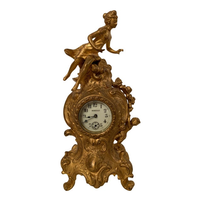 Antique Benedict mfg.co. Louis XIV Style Gilt Gold Novelty Clock For Sale