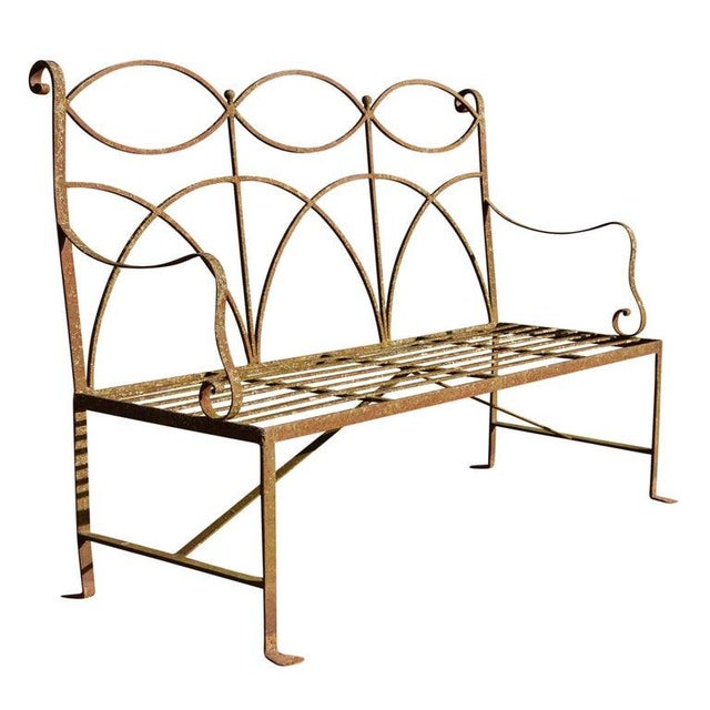 Early 20th Century Neoclassical Wrought Iron Garden Bench For Sale - Image 4 of 10