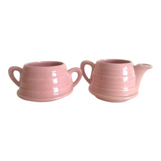 Mid-Century Modern Art Deco Pink English Ceramic Cream & Sugar Set - A Pair For Sale