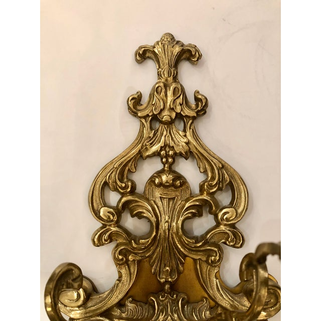 French Louis XV Style Cast Bronze 2 Branch Wall Sconces -Pair For Sale - Image 3 of 9