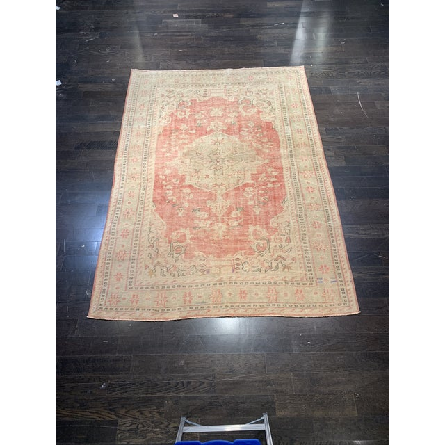 1920s Antique Distressed Turkish Oushak Area Rug - 6′6″ × 9′4″ For Sale - Image 13 of 13