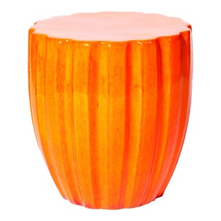 Scallop Handmade Glazed Ceramic Outdoor Accent Stool, Orange For Sale