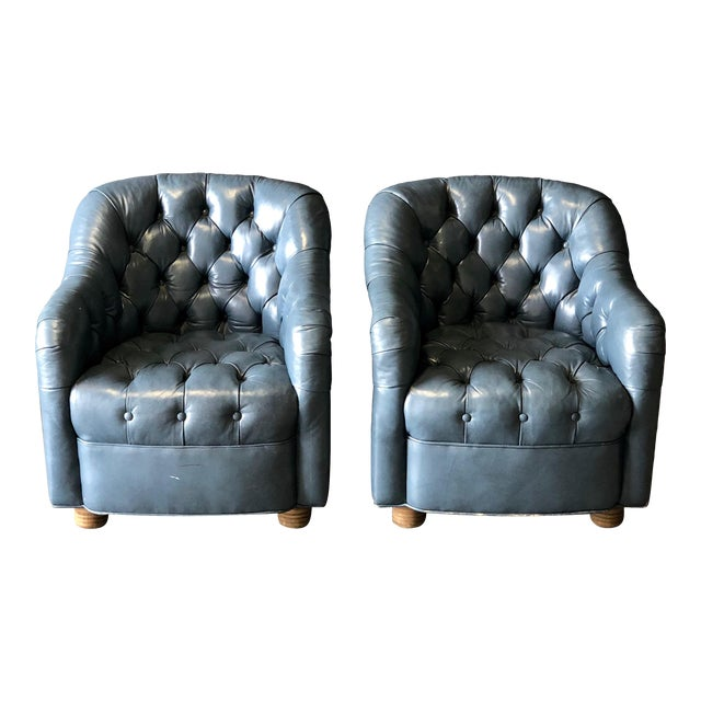 A Pair of Blue Leather Club Chairs For Sale