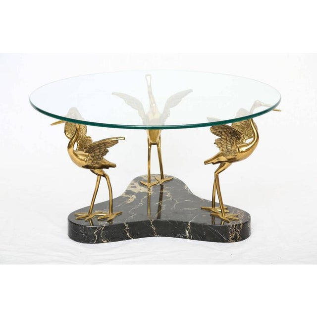 Willy Daro Style Marble & Brass Bird Coffee Table