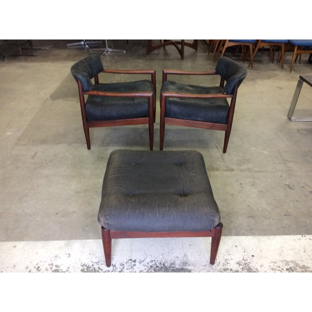 Adrian Pearsall for Craft Lounge Chairs & Ottoman For Sale - Image 9 of 11