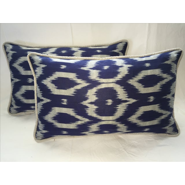 Navy Blue & Gray Silk Atlas Ikat Pillows - A Pair - Image 2 of 5