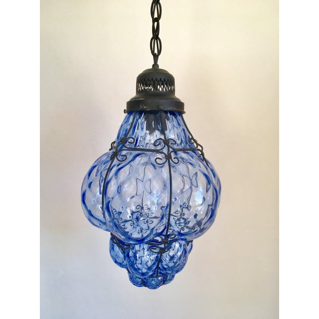 Boho Chic 1960s Boho Chic Hand-Blown Blue Glass Cage Pendant For Sale - Image 3 of 5