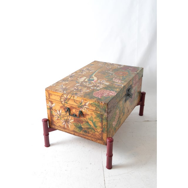 Leather Hand-Painted Chinese Trunk on Stand - Image 4 of 6