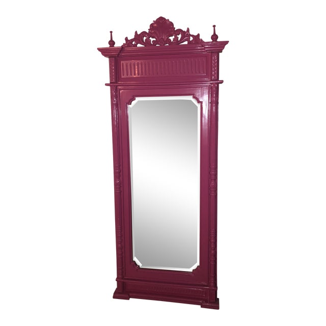 Hot Pink Lacquered Hand-Carved Solid Mahogany Floor Mirror For Sale